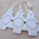 Gold and white Christmas decorations. Ceramic tree ornaments. Teachers gift.