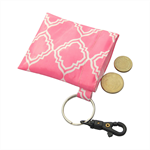 Pink Geo Print Coin Pouch/ Coin Purse with keyring clip waterproof and washable