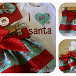 FRILLY TOP SKIRT SET - 'I  ❤️  Santa', Christmas, Spliced Skirt