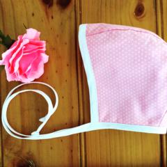 Pretty Pink Vintage Style Bonnet, Handmade baby girls hat .