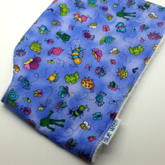 Baby Burp Cloth Little Bugs on Cotton Fabric, Soft Bamboo Toweling Backed