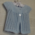 3-6 mths Baby, FREE POST Lacy Cardi, Pastel Blue Cotton, Hand Knit