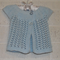 3-6 mths Baby, Lacy Cardi, Pastel Blue Cotton, Hand Knit