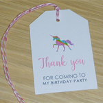 Set 12 Girls party Thank you gift tags - Rainbow Unicorn