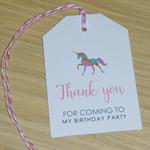 Set 12 Thank you gift tags - Rainbow Unicorn