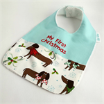 Christmas Baby Bib, Embroidered with My First Christmas, Little Dog Fabric.