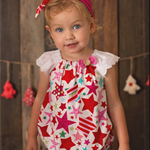 SEASIDE ROMPER SET -'Christmas Star, Flutter sleeve, Baby Girl, Lace