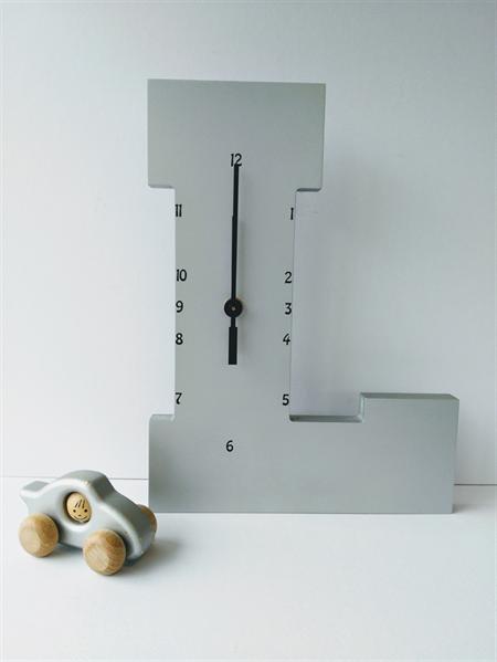 "Wooden Letter ""L"" Clock"