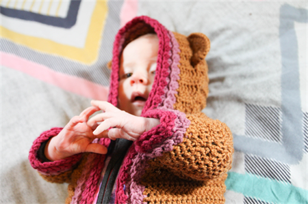 Pure wool, cotton & milk fibre crochet baby bear cardigan. Size 0-3 months.
