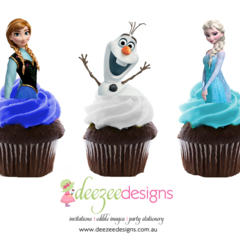 Frozen Edible Wafer Stand-Up Cupcake Toppers - Set of 16 - WC003