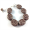 Handcrafted polymer clay bracelet - chocolate and white snakeskin effect