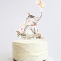 Personalised Elephant Cake Topper - Boho banner, flowers, feathers and balloons