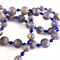 Handcrafted Polymer Clay Long Necklace- gold and royal blue mosaic