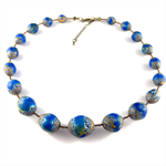 "Handcrafted polymer clay necklace- blue and gold ""earth from above"""