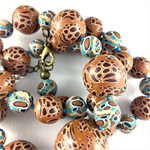 Handcrafted polymer clay necklace- turquoise and tan spots