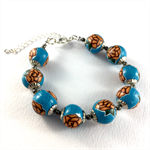 Handcrafted polymer clay bracelet - turquoise and peach floral