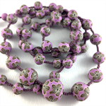 Handcrafted Polymer Clay Long Necklace- lilac floral