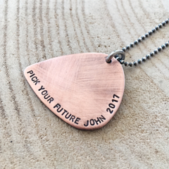 Guitar Pick Necklace, Graduation Gift, Unisex Jewellery, Hand Stamped Gift