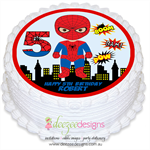 Spiderman Personalised Round Edible Icing Cake Topper - PRE-CUT - EI112R