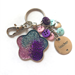 Glitter keychain with 'teacher' charm - Pink/Purple/Turquoise