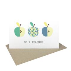 Teacher Card - Geometric Blue and Green Apples - TEA008 - No. 1 Teacher
