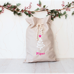 Large Personalised Santa Sack - Christmas Tree with Pink Star