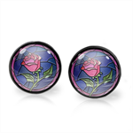 ENCHANTED ROSE EARRINGS (GUNMETAL)