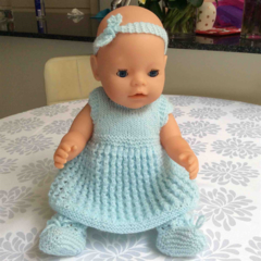 Doll with Blue 8 Piece Outfit 40cm