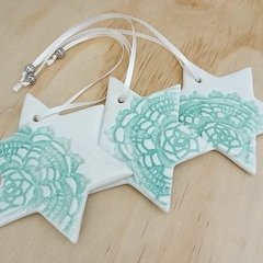 Mint green Christmas decorations. Ceramic star ornaments. Teachers gift.