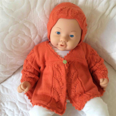 Apricot Baby Jacket and Matching Bonnet
