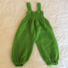 Cabled Baby Overalls in Soft Green Wool
