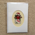 Cross Stitched Christmas Card with Envelope - Bunny Design