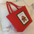 Red Tote Bag with Embroidered Front Panel