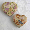 Two Tin Heart Shaped Boxes with Bird Designs
