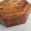 Octagonal Box with Painted Bears/Bees/Floral/Lace Design