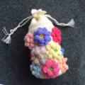 Crocheted Holdall Covered in Coloured Dahlias - Drawstring Closing