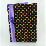 A5 Journal cover with journal & pen holder / bookmark - colourful dots on black