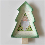 Wooden Tree Shaped Bowl with Painted Santa