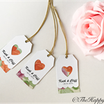 25 x Heart and scalloped customised wedding thank you tags, twin layer