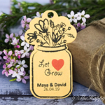 25 x Let love grow flower customised wedding thank you tags