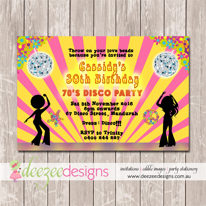 Disco Dance Funky 70s Birthday Invitation - YOU PRINT - BD138TA