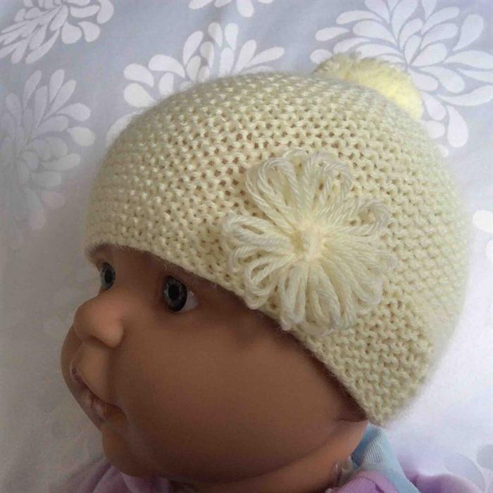 05f12051a26 Baby Beanie in Lemon with Flower Pom Pom Trim
