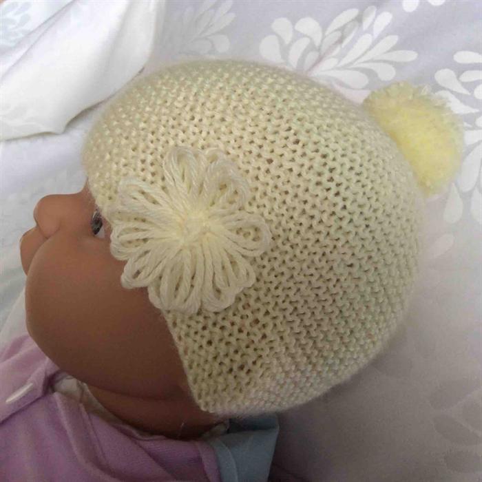 b9861ad247b Baby Beanie in Lemon with Flower Pom Pom Trim ...