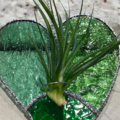 Stained Glass Air Plant Holder - Green Heart Design