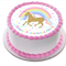 Unicorn and Rainbow Edible Icing Personalized Circle Cake Topper