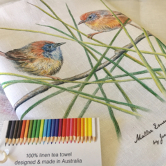 Mallee Emu-wren Tea Towel, Australian wildlife illustration, orange wren
