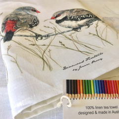 Diamond Firetails Tea Towel, Australian wildlife illustration, red black finch