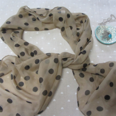 Beige Scarf with small Black Spots