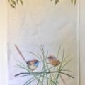 Mallee Emu-wren Tea Towel, Australian wildlife illustration, orange wren