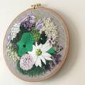 "Contemporary embroidery, 9"" hoop art - 'Gardenia'"
